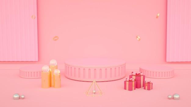 Rendu 3d de fond rose abstrait avec boîte-cadeau