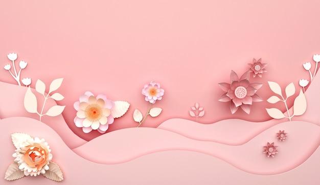 Rendu 3d de fond rose abstrait avec des décorations florales