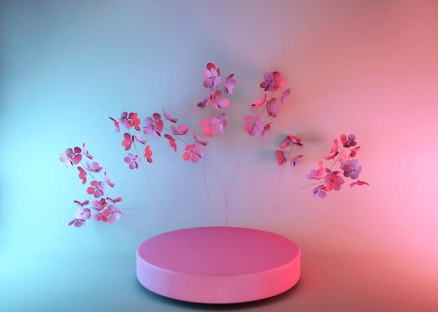 Rendu 3d, fond rose abstrait avec des fleurs de printemps, design de mode minimaliste de luxe. présentoir de produits de vitrine de magasin, podium vide, piédestal vide, scène ronde.