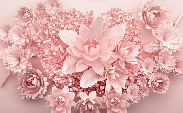 Rendu 3d de fond rose avec des fleurs luxueuses