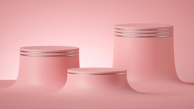 Rendu 3d de fond rose minimal abstrait avec des piédestaux de cylindre vide.
