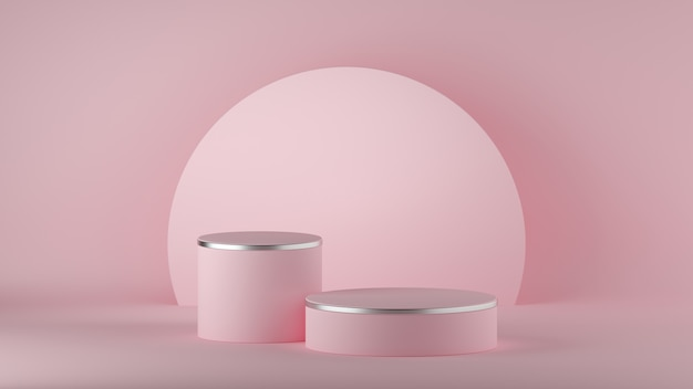 Rendu 3d de fond rose minimaliste moderne abstrait. podium de mode vide.
