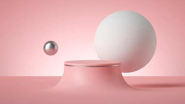 Rendu 3d de fond rose postmoderne minimal abstrait avec podium de cylindre vide.