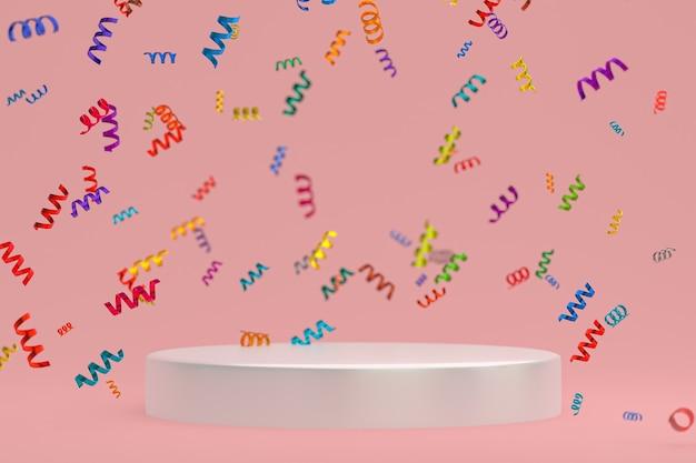 Rendu 3d de fond rose de scène abstraite avec le podium blanc, les confettis et les rubans multicolores pour le festival
