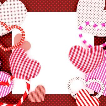 Rendu 3d de fond rouge saint valentin avec des coeurs 3d colorés avec espace copie