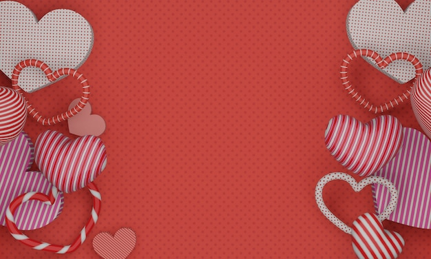 Rendu 3d, fond rouge de la saint-valentin avec des coeurs 3d colorés.