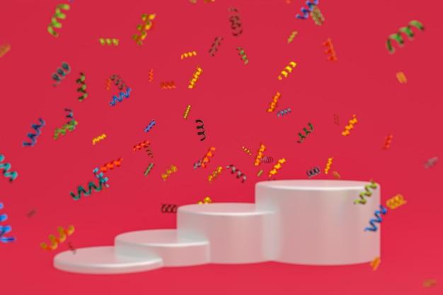 Rendu 3d de fond rouge de scène abstraite avec le podium blanc, les confettis et les rubans multicolores pour le festival