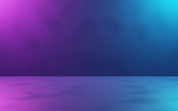 Rendu 3d de fond de salle abstraite violet et bleu. concept de cyberpunk.
