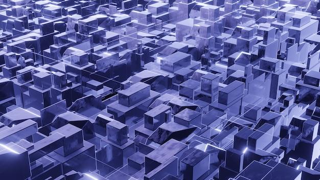 Rendu 3d, fond de science-fiction à partir de cubes.