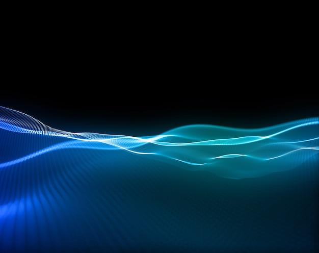 Rendu 3d d'un fond de technologie moderne avec des particules qui coulent