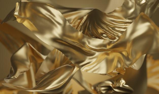 Rendu 3d de fond de tissu doré