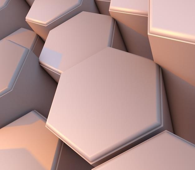 Rendu 3d d'un fond web abstrait avec des hexagones d'extrusion biseautés