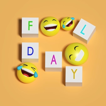 Rendu 3d .fool day and smile émoticône