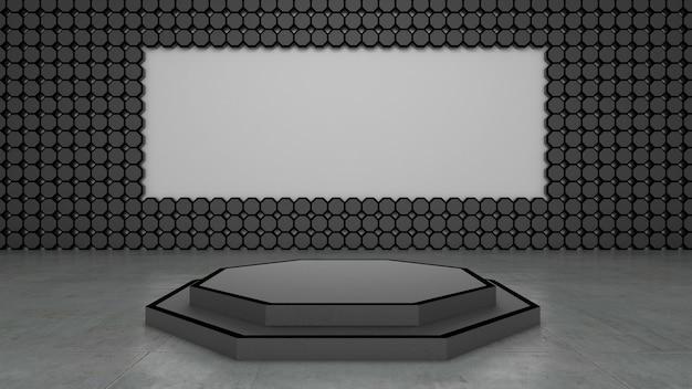 Rendu 3d De La Forme Abstraite De L'hexagone Et Du Podium Pour Le Produit D'exposition Photo Premium