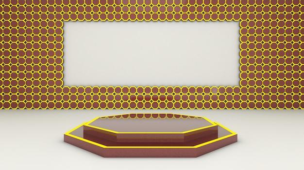Rendu 3d de la forme abstraite de l'hexagone et du podium pour le produit d'exposition