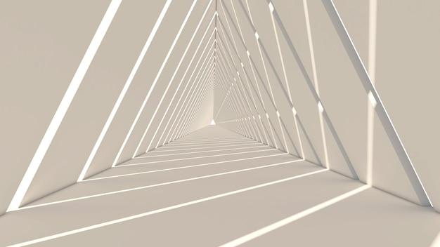 Rendu 3d de forme abstraite de triangle sur fond blanc