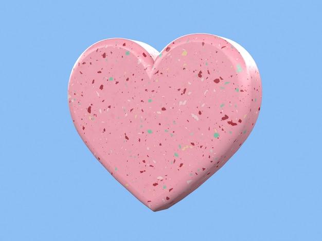 Rendu 3d forme coeur amour concept romantique fond bleu