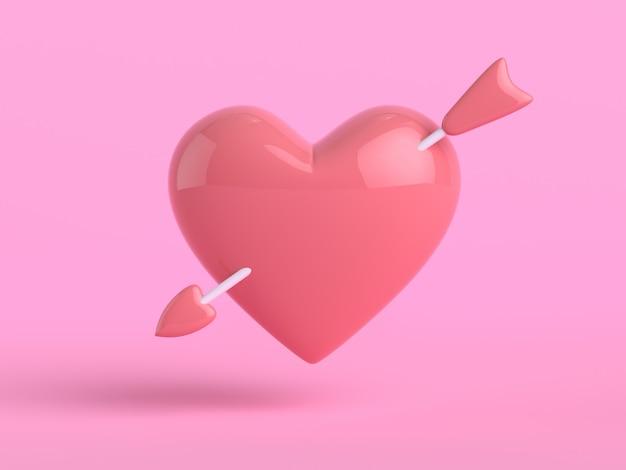 Rendu 3d en forme de coeur fond rose