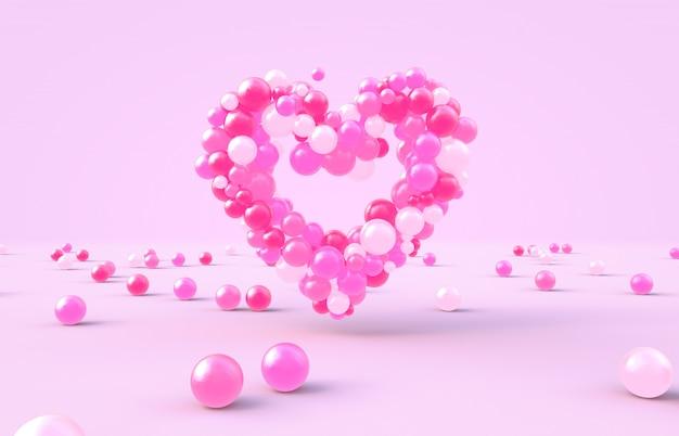 Rendu 3d. forme de coeur saint valentin avec fond de boules de bonbons roses