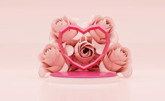 Rendu 3d en forme de coeur de studio rose sur podium rose