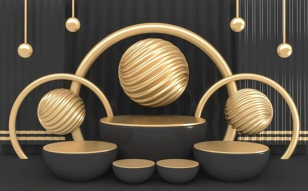 Rendu 3d forme de cylindre sombre minimal podium couleurs noir et or
