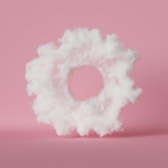 Rendu 3d de forme de donut nuage abstrait, isolé sur fond rose pastel.