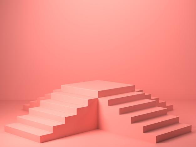 Rendu 3d de forme géométrique de couleur rose abstraite, maquette minimaliste moderne pour affichage sur le podium ou vitrine