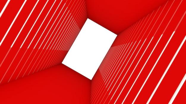 Rendu 3d de la forme d'un rectangle abstrait en fond de tunnel