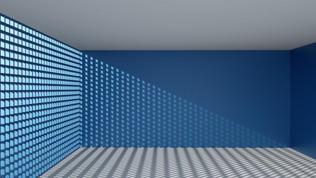 Rendu 3d de forme rectangulaire abstraite dans la pièce