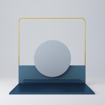 Rendu 3d avec des formes bleu foncé métalliques et des formes dorées