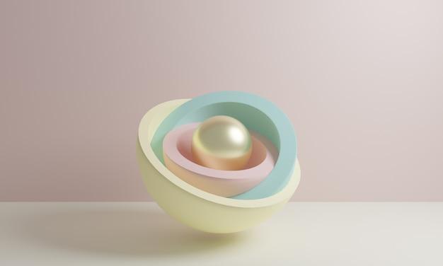 Rendu 3d, formes géométriques primitives abstraites, palette de couleurs pastel, mise en page simple, publicité d'éléments de conception minimale