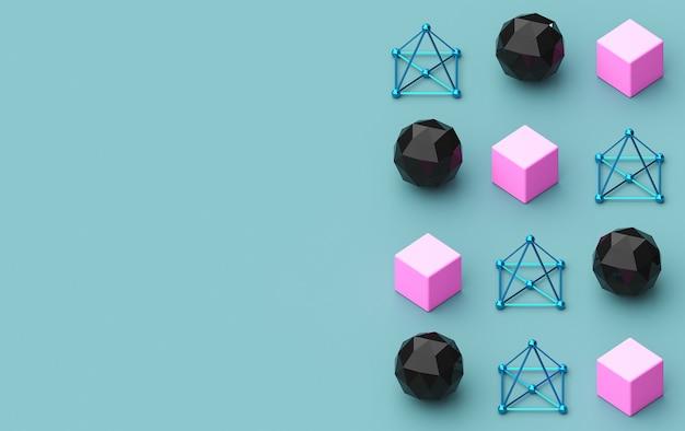 Rendu 3d, formes géométriques triangulaires, pyramide, constructions métalliques, arrière-plans triangulaires colorés