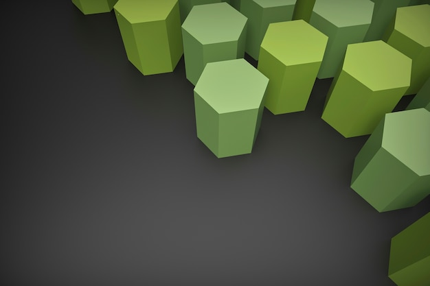Rendu 3d, formes de papier hexagonales vertes disposées sur un fond gris foncé