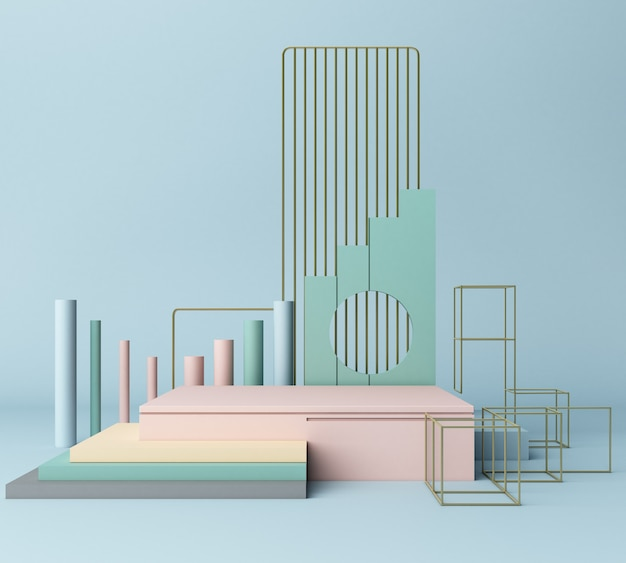 Rendu 3d formes primitives abstrait fond géométrique minimal