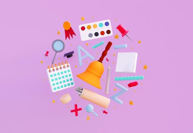 Rendu 3d de fournitures scolaires sur fond abstrait retour au concept de fournitures scolaires et scolaires