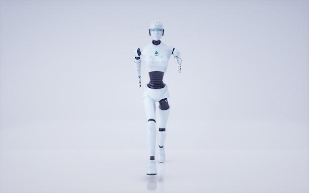 Rendu 3d futur robot d'intelligence artificielle et cyborg