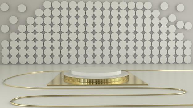 Rendu 3d de la géométrie du podium blanc avec des éléments dorés. podium vierge de forme géométrique abstraite.