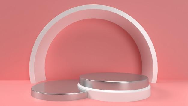 Rendu 3d de géométrique abstrait, scène, podium, scène et affichage. avec ton de couleur rose.