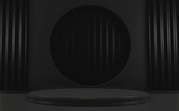 Rendu 3d géométrique minimal de podium noir foncé