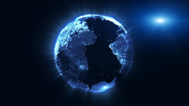 Rendu 3d, globe terrestre de particules en rotation et faisceau de lumière brillante, technologie des mégadonnées, concept d'entreprise et de communication.