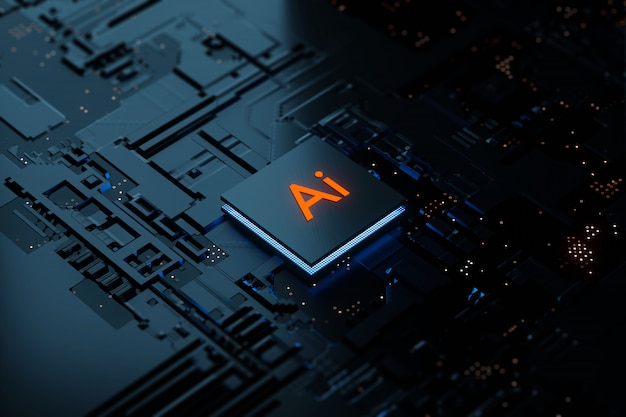 Rendu 3d glowing ai technologie d'intelligence artificielle chipset cpu sur carte de circuit imprimé. concept électronique et technologique.