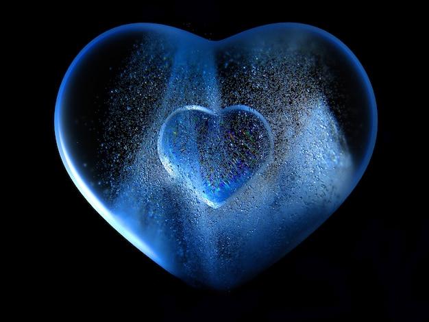 Rendu 3d de grand amour de glace de coeur de verre bleu avec effet de flou sur les bords avec un petit coeur de verre au centre et de petites particules de bulles de boules volent autour sur fond noir, couverture pour carte de voeux