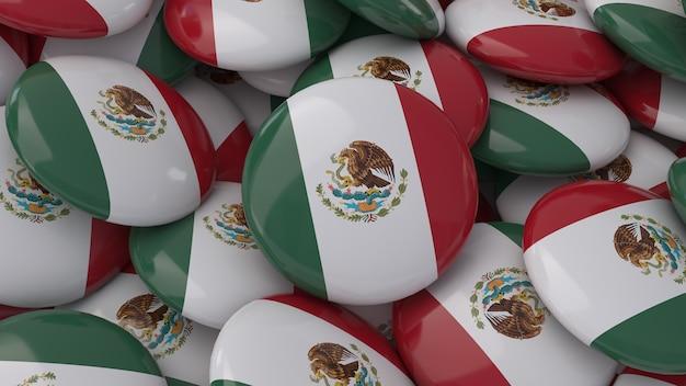 Rendu 3d d'un grand nombre de badges avec le drapeau mexicain en vue rapprochée