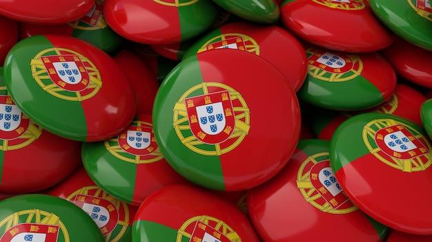 Rendu 3d d'un grand nombre de badges avec le drapeau portugais en vue rapprochée