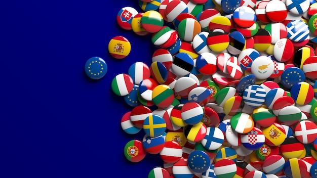 Le rendu 3d d'un grand nombre de boutons brillants de drapeaux de l'union européenne sur bleu