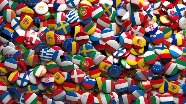 Le rendu 3d d'un grand nombre de boutons brillants de drapeaux de l'union européenne dans un gros plan