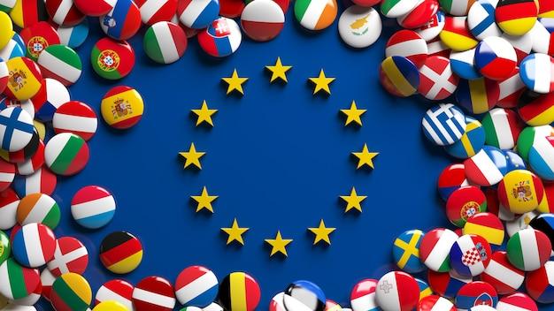 Rendu 3d d'un grand nombre de boutons brillants de drapeaux de l'union européenne entourant le logo de l'union européenne