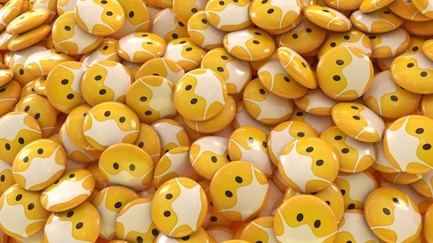 Rendu 3d d'un grand nombre d'emojis avec des masques de protection pilules brillantes dans une vue rapprochée
