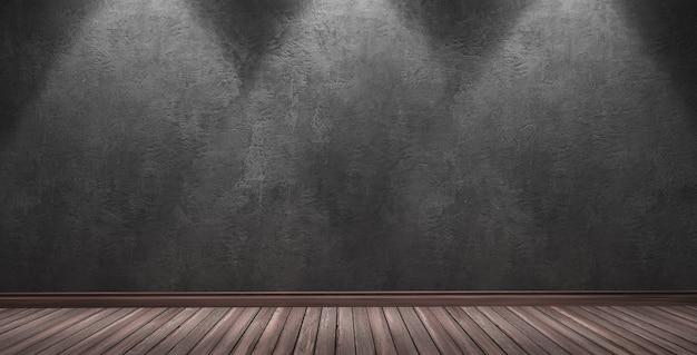 Rendu 3d d'une grande pièce moderne avec mur de plâtre noir scène de scène de spectacle intérieur à trois projecteurs