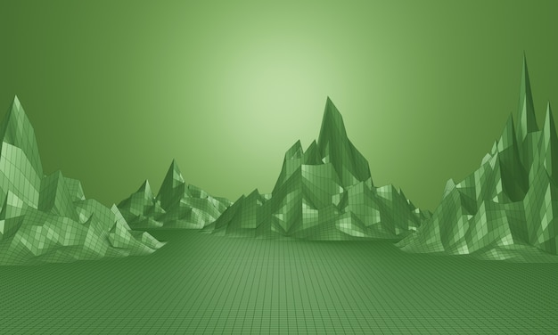 Rendu 3d. grille de montagne basse poly. paysage filaire topographique vert.